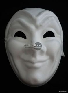 blank white paper mache smiley facial full face mask