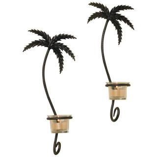New Black 2pc Pair Palm Trees Wrought Iron Wall Sconce Tealight Votive