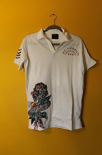 New Ed Hardy by Christian Audigier Tattoo Rhinestone white mens polo