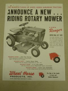 vintage 1961 wheel horse lawn ranger tractor spec sheet time