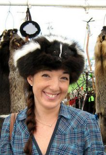 skunk fur hat mountain man black powder fox coon skin