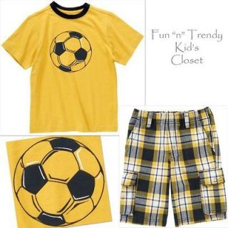 BOY SIZE 5 & 6 OUTFIT LOT SET PLAID SHORTS SOCCER BALL TEE SHIRT TOP