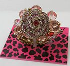 Iconic Ombre Rose Crystal Flower Beads Cluster Stretch Ring NWT