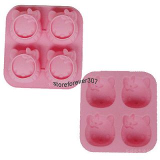 Silicone Pink Hello Kitty Shaped Cup Cake Chocolate Muffin Baking Mold