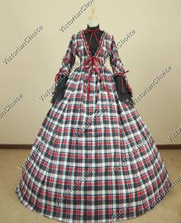 Civil War Cotton Blend Tartan Ball Gown Prom Dress Reenactment 158 S