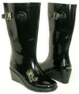 CUTE Medium Wedge Flat GALOSHES WELLIES RUBBER RAIN Boot Hunter BLACK