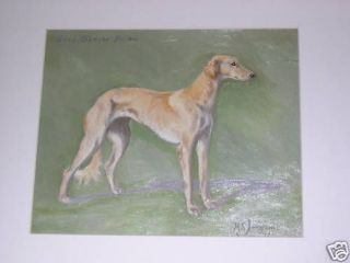 antique saluki dog oil painting signed 1937 named dog from