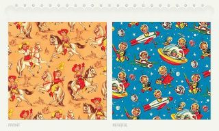 vintage retro gift wrap wrapping paper child themed time left