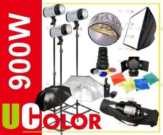 900W Studio Monolight Strobe Flash Lighting Kit with Carry Bag O2