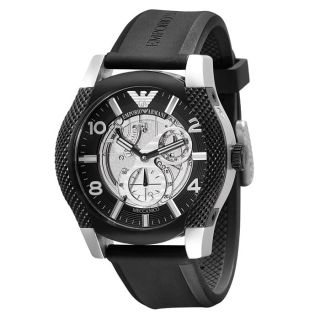 Emporio Armani Gents Automatic Meccanico skeleton Rubber Strap Watch