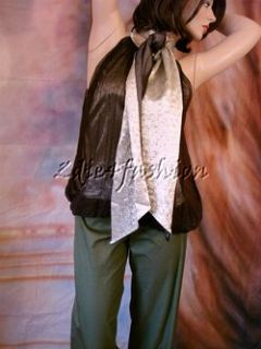1040 New Jean Paul Gaultier Brown Gold Silk Chiffon Tie Bubble Top 44