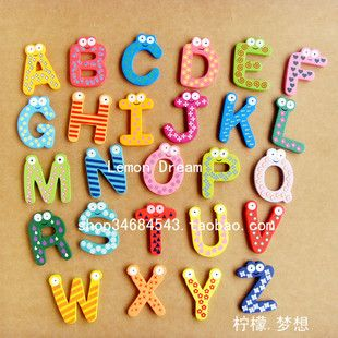 Alphabet Number Wooden Fridge Magnet Kids Educational Toy Baby Gift