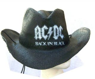AC DC Back in Black Straw Cowboy Hat OS New Licensed
