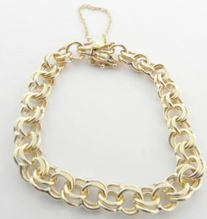 Ladies 14k Yellow Gold Open Link Charm Bracelet