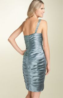 Adrianna Papell One Shoulder Ruched Satin Bead Dress 10