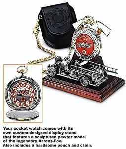 Franklin Mint 1922 Ahrens Fox Pumper Pocket Watch w Sculptured Stand
