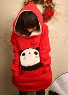Fashion Korean Fleece Sweatshirt Cute Panda Hoodie Loose Lady Coat