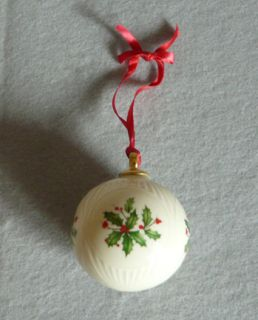 Lenox China Christmas Holiday Ornament Round Ball shaped with Holly