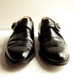 Allen Edmonds Warwick Wingtip 10 D Black Leather Monk Strap