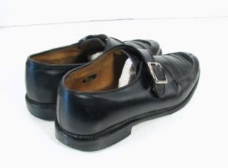 Allen Edmonds Mens Black Leather Thayer Monk Strap Loafers Dress