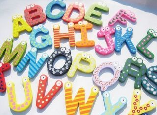 Nice Kids Wooden Toy Teaching Alphabet Fridge Magnetic Magnet Set 26