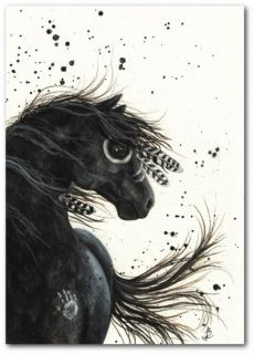 Mustang Native American Feathers Paint Black Horse Art BiHrLe Print 8