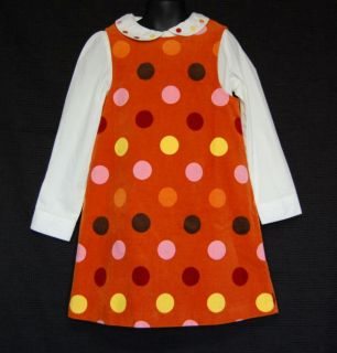 Gymboree Purrfect Autumn Orange Dot Dress Shirt Set Size 6 Kid Girl