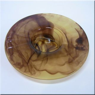 Davidson Art Deco Amber Cloud Glass Posy Bowl 204