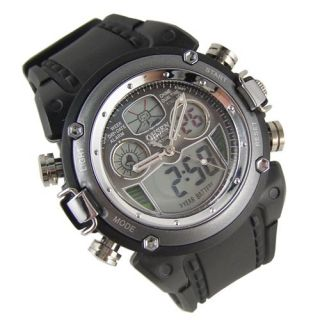 Mens Analog Digital Quartz Day Date Stop ALM Rubber Watch S21