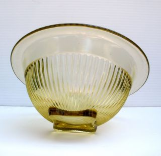 1930s Anchor Hocking Art Deco Embossed Citrus Yellow Glass Bowl
