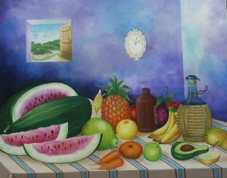 Painting Still Life Fruits Naive Style Art Caribbean Wilson Anacreon