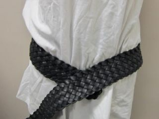 Eileen Fisher French Braided Leather Belt Black L