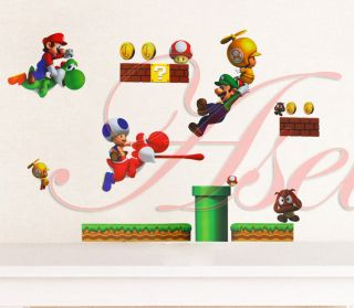 Infant Baby Kids Nursery Cot Room Decor Super Mario Bros PVC Wall