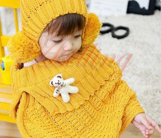 Yellow Baby Kid Toddler Girl Knit Crochet Warm Hat Cloak Caps Cape