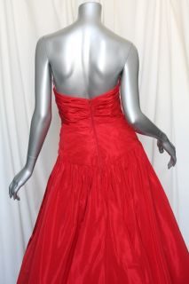 ANGEL SANCHEZ Couture Red Strapless SILK Ball Long Gown Dress 4