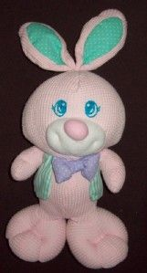1997 Fisher Price Pink Bunny Rabbit Plush Green Vest Thermal Purple