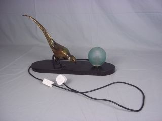 1920s Art Deco Bronze Pheasant Table Lamp Marble Base