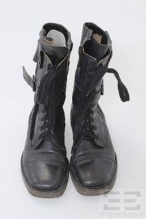Ann DEMEULEMEESTER Black Leather Lace Up Buckle Flat Boots Size 39