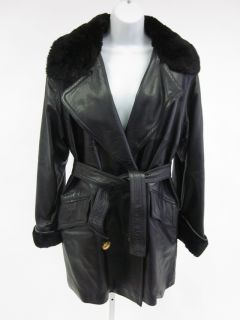 Maxmillian Anne Klen Black Leather Fur Trim Long Sleeve Belted Waist