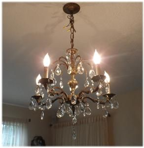 Antique Bronze Brass Crystal Double Waterfall Chandelier