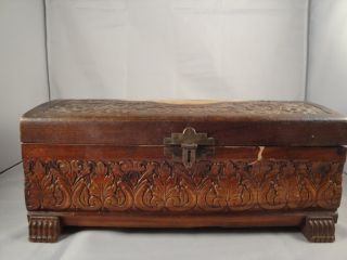 Vintage Antique Hand Carved Wood Jewelry Box Momento Keepsake Cigar