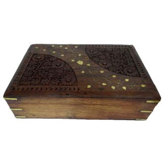 Antique Vintage Style Large Wooden Jewelry Box Decorative Storage