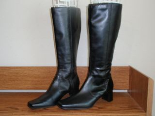 Womens Ann Marino Square Toe knee High Heel Black Leather Boots Shoes