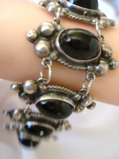 VINTAGE MEXICO MEXICAN STERLING SILVER BEADED SPHERE BRACELET