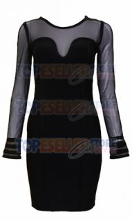 Anna Paquin Black Mesh Long Sleeve Bandage Dress XS s M L Celebrity