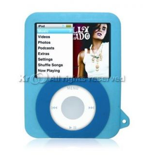 APPLE iPOD NANO 3 3rd GEN BLUE SILICONE SKIN CASE #1 ON