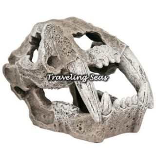 Blue Ribbon Saber Tooth Skull Aquarium Decoration Mini