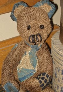 Primitive Olde Handmade Burlap Artist Teddy Bear One Of A Kind A P P