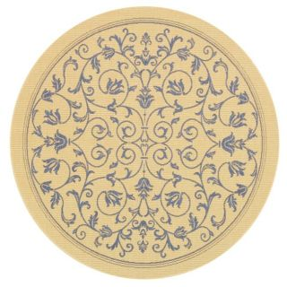 Indoor Outdoor Natural Blue Area Rug 6 7 Round New