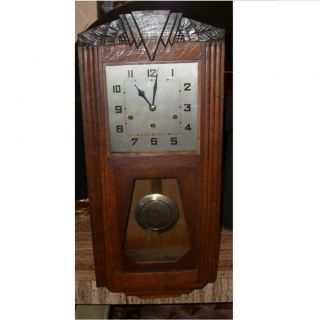 Antique Wooden Art Deco Pendulum Wall Clock